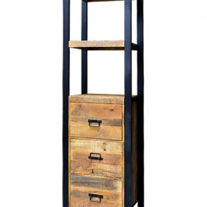 boekenkast van mangohout lades