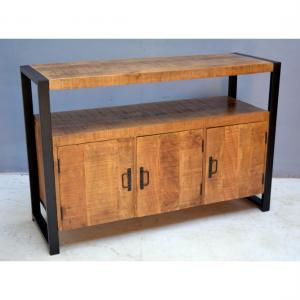 Klein tv meubel 3 deurtjes mangohout