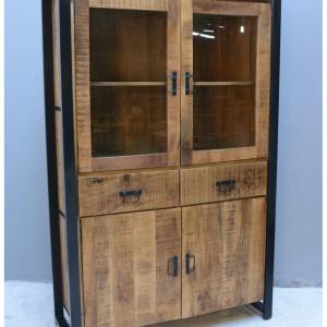 Vitrinekast mangohout 2 glazen deuren