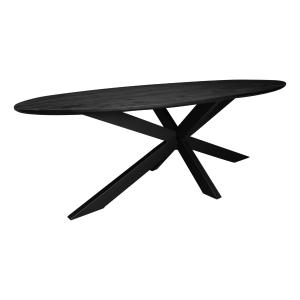 Zwarte ovale tafel mangohout