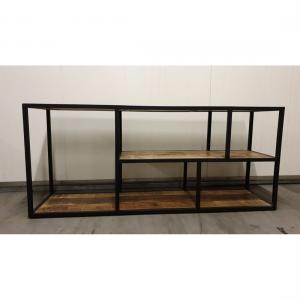 iron tv rack w wooden shelf iron black wood natural finish.jpg 2