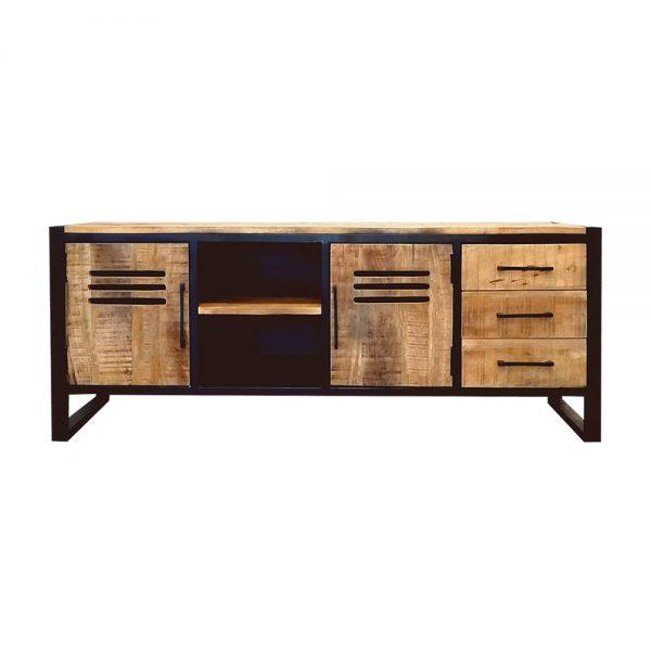 tv meubel lockerkast met 3 lades van mangohout