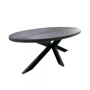 Eettafel ovaal zwart mangohout