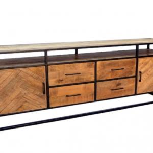 tv meubel 4 lades mangohout visgraat 200cm